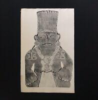 "1/1 Artist Proof MAYAN IDOL Original Primitive 25"" Lithograph Vtg 1960 Art Print"