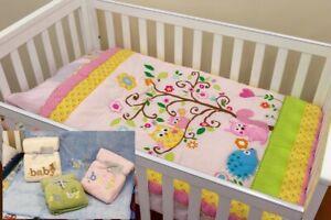 Quilt Comforter Set Baby Bedspread Pink Owl Embroidered Bonus 1 Baby Blanket