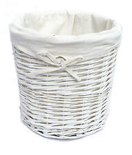 Brown Or White Oval Wicker Laundry Basket With Lid And Removable Cotton Lining