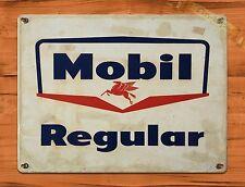 "TIN SIGN ""Mobil Regular"" Gas Rustic Oil Garage Wall Decor"