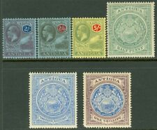 EDW1949SELL : ANTIGUA 1908-22 Scott #31, 34, 37, 61-63 Very Fine Mint OG Cat $89