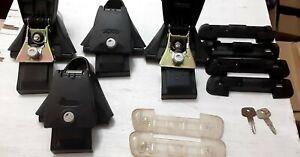 "Set of 4 Yakima Q towers with locks,83 Clips,feet,Keys,""A""pads.Read description."