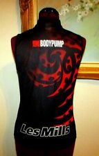 WMS LES MILLS BODY PUMP SZ L BLACK/RED/WHITE ZIP FRONT POLYESTER TOP/RUNS SMALL