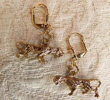 Detailed Fierce Tiger Charms Golden Brass Leverback Dangle Earrings NEW