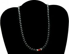 LADIES 18 IN BLACK HEMATITE & RED AGATE HEALING MAGNETIC NECKLACE: Helps Pain!