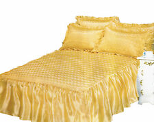 Quilted Ruby Decorated King Size Duvet Bedding Set Gold