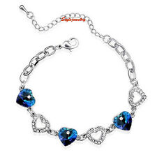 18k White Gold Filled Ocean Blue Heart Bracelet Made With Swarovski Crystal T25