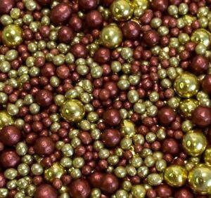 BURGUNDY/GOLD MIX EDIBLE SUGAR PEARLS CHRISTMAS CAKE POP DECORATIONS SPRINKLES
