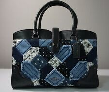 Coach Mercer Canyon Quilt Denim and Grain Leather Patchwork Satchel Bag F37730