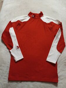 Under Armour Red Loose Fit Heat Gear Long Sleeve Base Shirt Men's Large c6