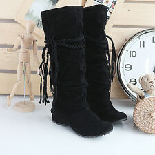 Women Snow Boots Suede Tassel Mid-calf Boots Flat Shoes Jackboots Winter Warm GA
