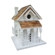 Honeymoon Cottage Birdhouse with Bracket (White with Light Brown Roof)
