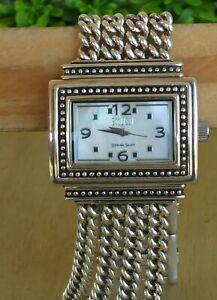 "Ecclissi MOP Dial Multi Chain Bracelet Watch Sterling 78 g/7"" Wrist New Battery"