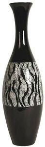 Tall Floor Standing Flower Vase Black Vase Black & White Striped Design 57cm
