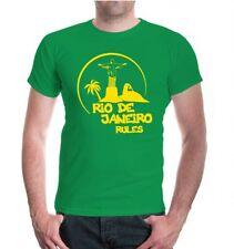 Herren Unisex Kurzarm T-Shirt Rio de Janeiro Rules Silhouette Brasilien City