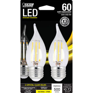 FEIT Performance 6 watts CA10 LED Bulb 500 lumens Soft White Chandelier