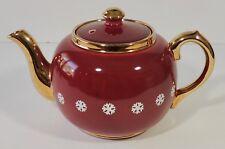 Sudlow's Burslem England Cranberry Red Snowflake Gold Trim Teapot EUC