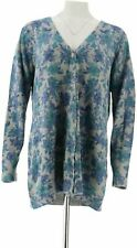 Denim & Co. Floral Print Heathered Long Sleeve Button Front Cardigan Size XL