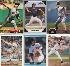 GREG A. HARRIS Lot of 23 Different Premium MLB Baseball Cards Boston Red Sox