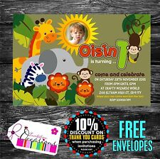 Personalised Birthday Invitations Jungle Animals ideal 1st Birthday x 5