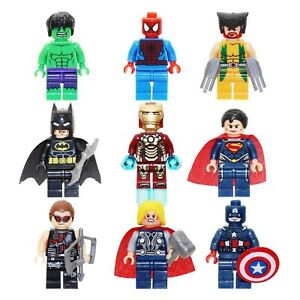 9pc Marvel Avengers DC Super Heroes Batman Iron Man Hulk Minifigures Fit Lego