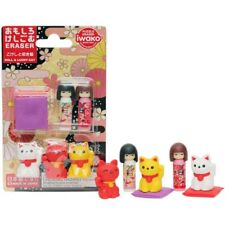 JAPAN ERASERS IWAKO PUZZLE ERASER OMOKESHI SET DOLL & LUCKY CAT MANEKI NEKO