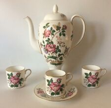 Wedgwood Charnwood Coffee Pot And Demitasse Cups Set Roses Butterflies England