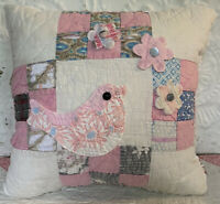 NEW Handmade Bird Pillow Vintage Quilt Old Chenille Bedspread Super Cute!!
