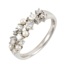 Ivy Gems Sterling Silver Freshwater and Pearl and Cubic Zirconia Ring - Size S