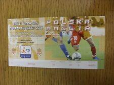 08/09/2004 Ticket: Poland v England [At Stadion Slaski, Chorzow] (folded). Unles