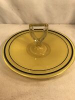 Vtg Mid-Century Reverse Painted Glass Round Serving Sandwich Cookies Tray Handle