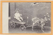 Real Photo Postcard RPPC - Boy with Flag in Goat Wagon Flintjer Photo Chicago IL