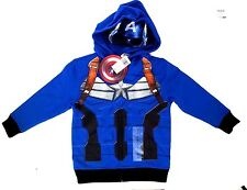 Marvel Captain America Boy's Cool Graphic Character Hoodie W/Mesh Half Mask Sz 5