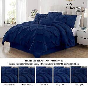 CHEZMOI COLLECTION Sydney 7-Piece Bedding Comforter Set - FULL - NAVY - NEW!!!!!