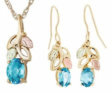 Landstrom's Black Hills Gold 10K Gold Blue Topaz Jewelry Set with Hook Earrings