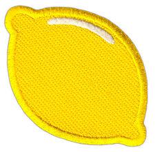 aa68 Zitrone Zitrusfrucht Gelb Aufnäher Bügelbild Patch Applikation 7 x 4,8 cm