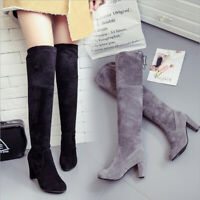 Women Knee Shoes High Heel Slip-on Lace-up Boots US