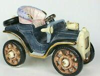 """Rare Flambro Novelty English Porcelain Roadster Motor Car Handpainted 8"""" Long"""