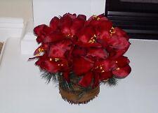 Bethlehem Lights Christmas Basket of Lighted Red Amaryllis Timer Pot Filler