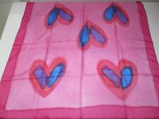 MADE IN INDIA BNIP PINK ABSTRACT BLUE ❤️ LOVE HEART ❤️ PRINT PURE SILK XL SCARF