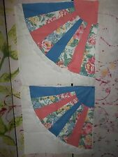 """Pre-Made Quilt Tops"" for Pillows, 2 Pieces, On Muslin, Pinks and Blues, 20"" Sq."
