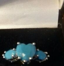 Silver Plated Ring With Turquoise colour Stones sizeM