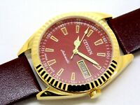 citizen automatic men gold plated red dial vintage 21 jewels japan watch run