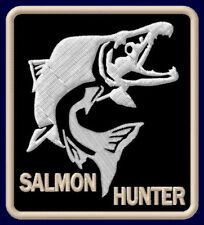 "SALMON HUNTER EMBROIDERED PATCH ~3-3/8"" x 3"" AUFNÄHER FLY FISHING ROD FISHERY"