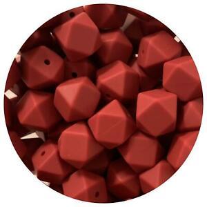 10 silicone beads BURGUNDY RED 17mm hexagon BPA free sensory jewellery DIY dark