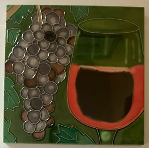 Grapes Wine Glass Decorative Wall Art Ceramic Tile 8x8 New