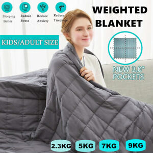 Premium Cotton Beddding Weighted Blanket Adult Kids Gravity Sleep 2.3/ 5/ 7/ 9KG