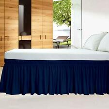Wrap Around Bed Skirt Egyptian Cotton 600 Tc Navy Blue Solid All size & drop