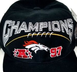 Denver Broncos 1997 AFC Champion Baseball Hat Black NFL Pro Line NWT Snapback