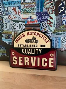 INDIAN MOTORCYCLE SERVICE HEAVY EMBOSSED METAL SIGNN SALES SHOP DEALER GARAGE